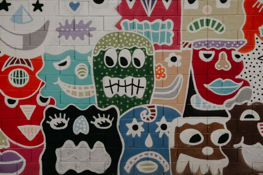 assorted character wall painting